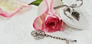 coeur rose clef